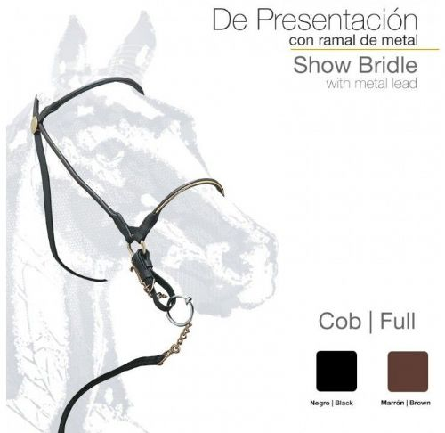 Leather presentation show bridle metalic browband